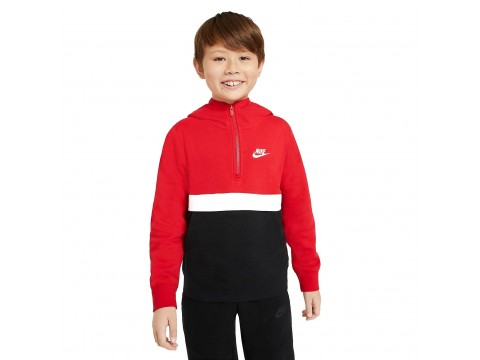 Felpa Nike Sportswear Club con cappuccio e zip a metà lunghezza Ragazzo CQ4297-657
