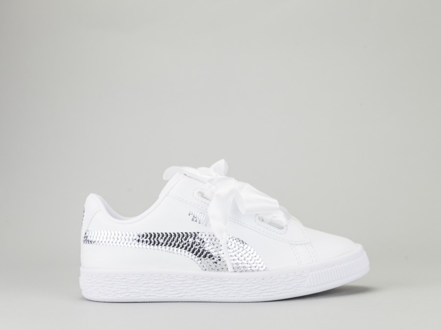 los angeles fbf04 e4d69 PUMA BASKETBALL HEART BLING PS Girl 366848-02 Color WHITE Puma Size Shoes  Thirty one