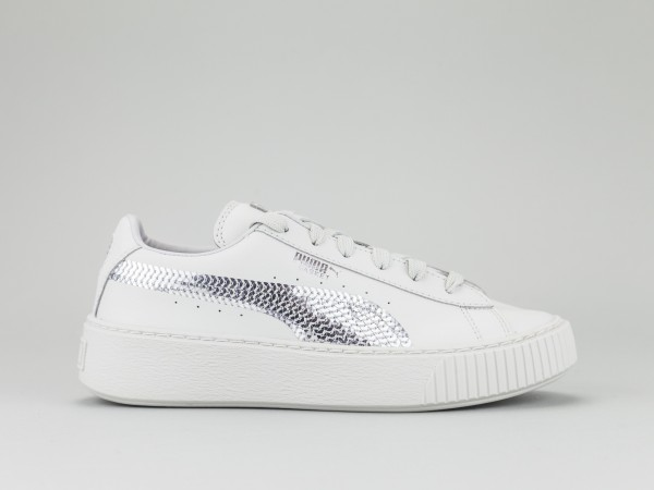 puma basket platform bianche e argento